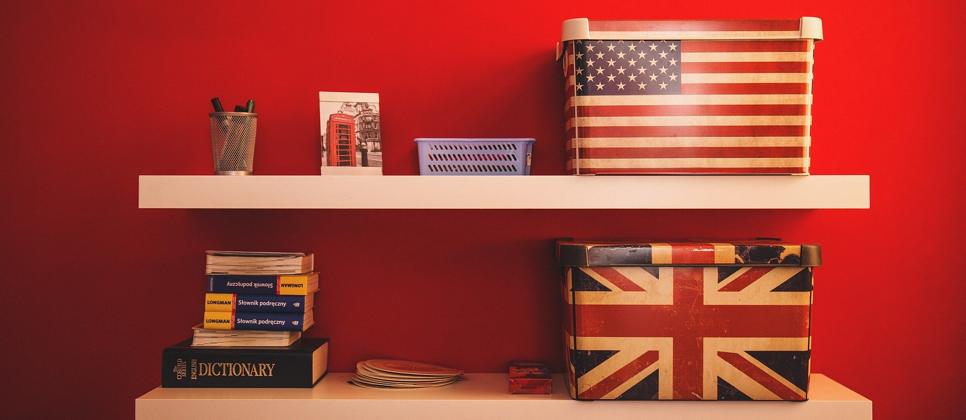 Boxes with British and American flags on shelves
